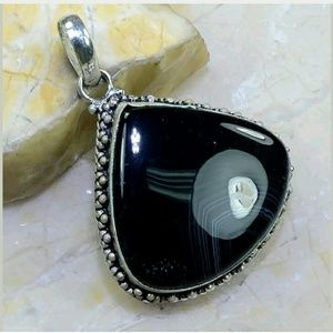 Botswana Agate .925 Sterling Silver Pendant